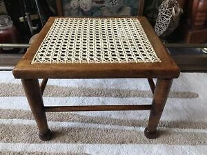 Art And Crafts Oak Footstool Stool New Woven Cane Seat Country Rustic Rattan