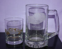 1957 Chevrolet Bel Air Etched Mug and Etched Cocktail Glass w Gold Tone Trim