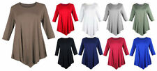 Jersey Scoop Neck 3/4 Sleeve Tunic Dresses for Women