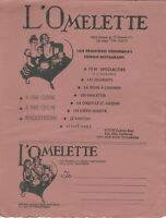 Vintage 1940s L'OMELETTE French Restaurant Menu, Palo Alto California
