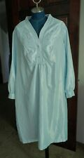 Vintage Barbizon Long Satin Nightgown 2XL Blue Embroidered Pleated