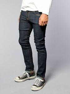Nudie Mens Slim Skinny Fit Raw Stretch Jeans - Tube Tom Twill Rinsed - W34 / W36