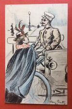 CPA. Illustrateur Henri BOUTET. Serie 14? En Automobile. N°79? Femme. Militaire.