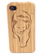 iPhone 5c Bamboo Wood Case ( Bear Laser Engraving ) 100% Genuine Wood Cover ✔️