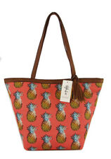 STYLE & CO PINEAPPLE Coral Canvas Shoulder Tote Bag Msrp $62.50