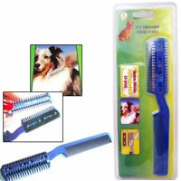 Pet Dog Cat Hair Trimmer with Comb + 2 Razor Cutting Grooming Cut Care New