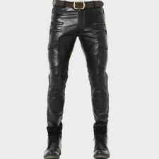 Men's Real Cowhide Leather Pants Cargo  Trousers Leder Gay Breeches BLUF