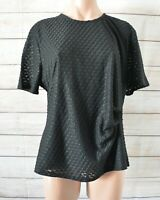 Liz Jordan Noni B Tunic Blouse T-shirt Size Xl Black Short Sleeve Check Print