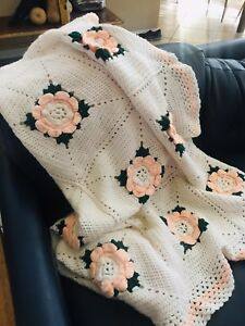 Handmade Crochet 3D Flower Floral Afghan Lap Blanket Couch Throw Baby Rose