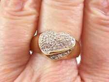 Heart' Ring, Hallmarked, Size 7 1/2 Retro Modernistic 10K Yellow Gold 'Diamond