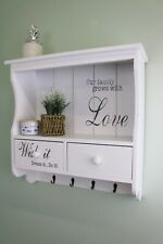 White vintage country style shelving unit with 3 drawers and hooks