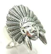 Mens Indian Headdress Face Sterling Silver 925 Ring 14g Sz.10.75 BOB48d
