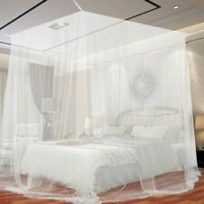 European Style Post Bed Canopy Mosquito Net 4 Corner Full Netting Bedroom Decor