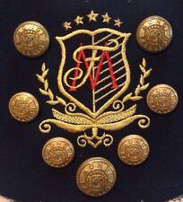 "7 Gold Mondi Fashion Metal Blazer Jacket Buttons ""MF"" Logo Embroider Lot 1335"