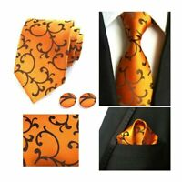Tie Pocket Square Cufflinks Orange Brown Set Individual Swirl 100% Silk Wedding