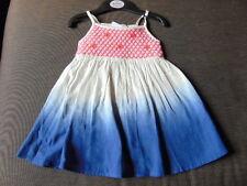 M&S 100%Cotton Strappy Dip Dye Dress 3-6m 69cm Blue Mix BNWT