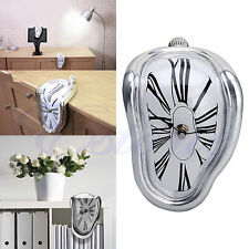 HOT Novelty Surreal Melting Wall Clock Surrealist Salvador Dali Style Silver