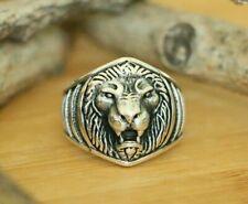 Lion Signet Rings High Quality 925 Sterling Silver Handmade Men's Rings Size 8.5