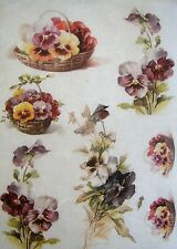Rice Paper for Decoupage Scrapbook Crafting Flowers Pansies 571