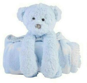 Baby Boys Baby Teddy Bear With Blue Baby Blanket Set ~ Newborn ~ Baby Shower