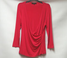 JAEGER LONDON RED FIXED WRAP STRETCH TOP V NECK ¾ SLEEVES UK S