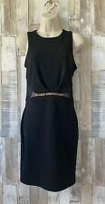 Miss Selfridge Black Sleeveless Mesh Panel Fitted Dress LBD Size 10