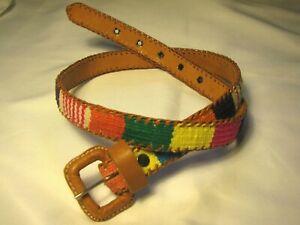 Hippie Boho 70/'s Fashion Wear Multicolor Retro Belt Vintage Chic Bohemian Leather Loop Belt 37 Retro Chic