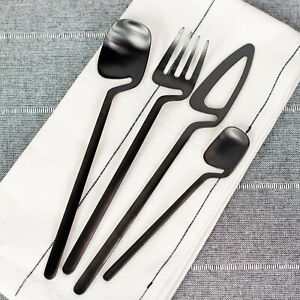 24 Pc. Modern Flatware set for 6 Stainless Steel Kitchen Silverware-Matte Black
