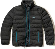 NWT Hollister Abercrombie Mens Grey Mock Neck Puffer Jacket Coat ~ S