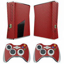 Red Carbon Fiber Decal Skin Sticker for Xbox360 slim and 2 controller skins