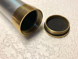 "Fly Rod Case/Tube Silver Powder Coat Aluminum 2"" I.D.Fly Rod Tube Gold Hardware"