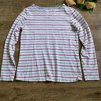 Joules Marine Grade White Stripe Long Sleeve Top Size 8 Cotton Round Neck Land