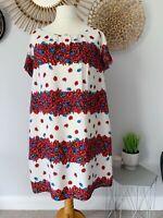 Evans White Floral Print Shift Dress UK22 Red/Blue Plus Size Summer