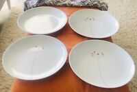 "Kahla Germany  .. 10 3/8""Dinner Plates- White With Pink Abstract Flower-Set of 4"
