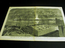 Fire Works BROOKLYN HEIGHTS July 4th River Cafe Site 1859 Large Folio Print FINE