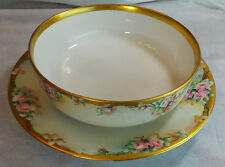 ANTIQUE  LARGE  LIMOGES T & V  FLORAL BOWL WITH B & C SERVING DISH HAND PAINTED