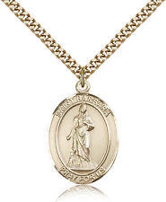 """Saint Barbara Medal For Men - Gold Filled Necklace On 24"""" Chain - 30 Day Mone..."""