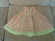 Baby Girls 3-6 months - Lime Green & Pink Checked Sleeveless Summer Dress