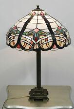 Lampada da tavolo in stile Tiffany  con paralume in vetro e base in ottone