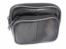 SOFT BLACK GENUINE LEATHER BUMBAG COIN POUCH PURSE CAMERA WALLET WAIST BELT LOOP