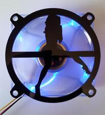 Custom 80mm 007 BOND GIRL Computer Fan Grill Gloss Black Acrylic Cooling Cover