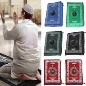 Pocket Prayer Mat Rug Travels Compass Outdoor Muslim NEW Musallahs N6I7