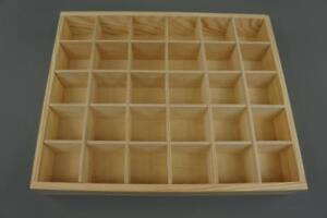 Wooden Tray Box 30 Compartment Display Storage Section Jewellery Keepsake  30-BW