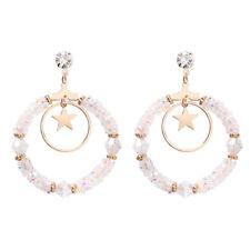 Fashion Circle Star Rhinestone Drop Earring Women Round Crystal Earrings Jewelry