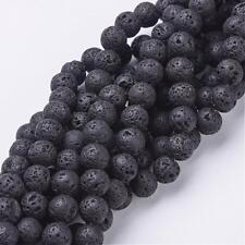49 BULK Beads Black Lava Beads Natural Lava 8mm Beads Wholesale