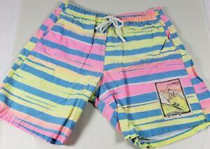 Vintage Billabong Boys Board Shorts Swim Trunks Flourescent Tiger Triped 80's