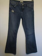 21Y) WOMENS DISTRESSED RIVER ISLAND BOOTCUT BLUE JEANS  SIZE 10  INSIDE LEG 26