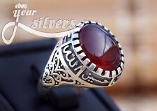 Shia Men Ring 925 STERLING SILVER Natural  Red AGATE AQEEQ ahlulbayt ehlibeyt