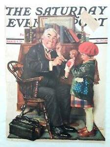 NORMAN ROCKWELL ORIGINAL SATURDAY EVENING POST COVER ONLY-MARCH 1929 DOCTOR/DOLL