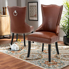 High Back Stud Dining Chairs Faux Leather Wood Leg w/ Knocker Ring Dinning Room